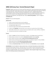 WRD 104 Essay Four Formal Research Paper
