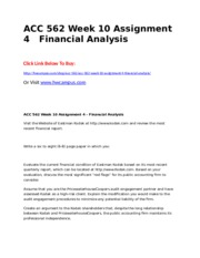 ACC 562 Week 10 Assignment 4  Financial Analysis.doc