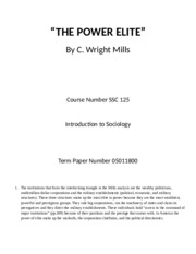 THE POWER ELITE Sociology term paper I.docx