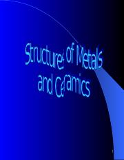 Chapter 3A - Structures of metals & ceramics