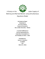 A Study on the Labor Supply of Working and Married Women using Simultaneous Equations Model