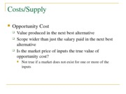 Costs or Supply with questions