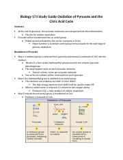 Biology 171 Study Guide Oxidation of Pyruvate and the Citric Acid Cycle