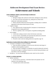Review - Achievement and Schools