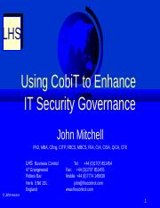 Week 2 CobiT-Security Governance