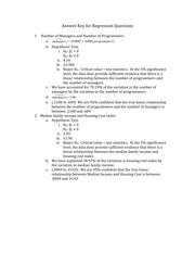 Answer Key for Regression Questions