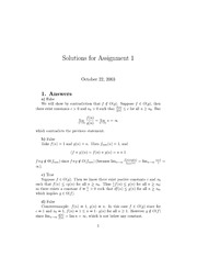 CSI 4105 Fall 2003 Assignment 1 Solutions
