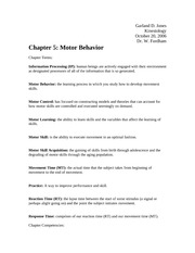 Chapter 5 Motor Behavior