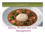 Ch 5 Menus, Recipes and Cost Management