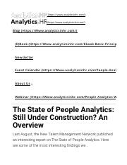 People Analytics- Under Construction