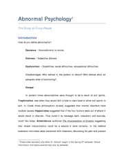 Abnormal Psychology-Complete Notes