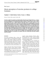 Smith S.Y. (2006) Harm Perceptions of Nicotine products in college freshmen