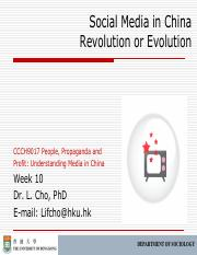 CCCH9017 Week 10 Social Media in China Revolution or Evolution Outline