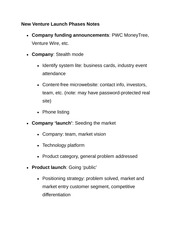 New Venture Launch Phases Notes