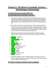 Chapter 8 - The Blood and Lymphatic Systems - Hematology And Immunology.docx
