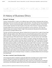 A History of Business Ethics - Resources - Business Ethics - Focus Areas - Markkula Center for Appli
