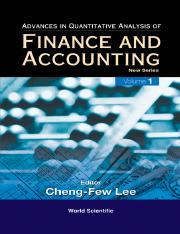 Advances in Quantitative Analysis of Finance and Accounting_ New Series (Advances in Quantitative An