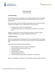 Teaching Skills - Lesson 5 Summary