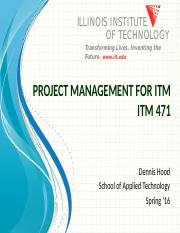 ITM471 Week 9 - Cost Management and EVM