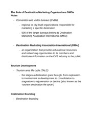 The Role of Destination Marketing Organizations DMOs Notes