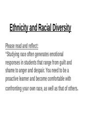 ethnicity and racial diversity