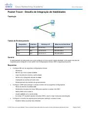 2.3.1.2 Packet Tracer - Skills Integration Challenge Instructions