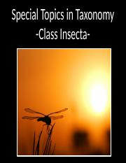 Special Topics in Taxonomy - Class Insecta (Orders)