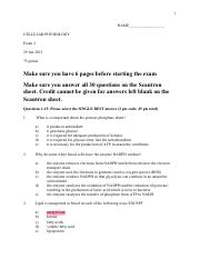 Cell Phys Exam 2 - S15) - No Answers