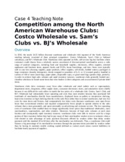 Competition among the North American Warehouse Clubs Costco Wholesale vs. Sam's Clubs vs. BJ's Whole