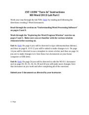 MS Word Part I Lab Instructions