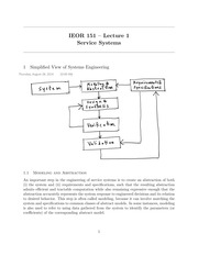 IEOR 151 - Lecture 1, Service Systems - Fall 2014