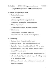 Lecture 10 on Replacement and Retention Decisions (Chapter 11)