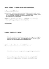Lecture 10 Notes ESL Studies and the Cross-Cultural Issues