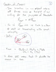 PHYS 1118 Fall 2010 Center of Mass Lecture Notes