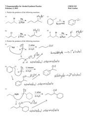 7 organometallics for alcohol synthesis practice answers