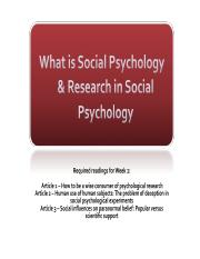1 -  What is Social Psychology & Research in Social Psychology