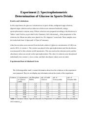 Chem 241 Spectrophotometric Determination of Glucose in Sports Drinks