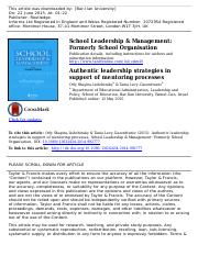 authentic leadership strategies in support of mentoring processes