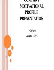 PSY 320 Week 5 - Motivational Profile Presentation PowerPoint.pptx