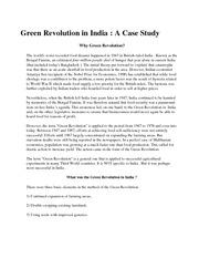 Green revolution case study