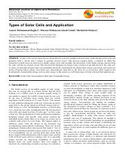 type of solar cell and application