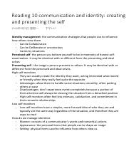 Reading 10 communication and identity creating and presenting the self.pdf