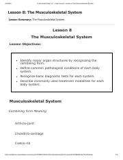 Lesson 8 - Musculoskeletal System