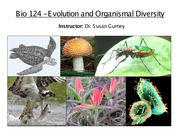 Lecture 1 - Evolution and Organismal Diversity