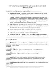 JOB APPLICATION COVER LETTER AND RESUME ASSIGNMENT