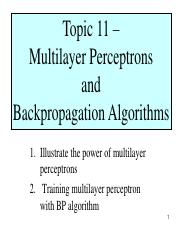 Topic 11 - Multilayer Perceptrons and  Backpropagation Algorithms