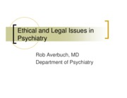 Ethical and Legal Issues in Psychiatry