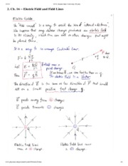 Electric Field and Field Lines Notes
