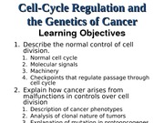 Lecture 15 Cell Cycle and Cancer