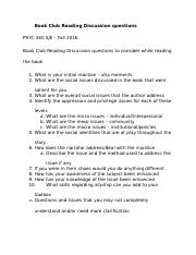 Book Club Reading Discussion questions - handout